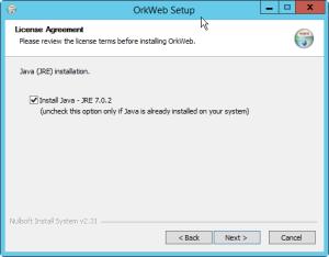 OrkWeb install Java
