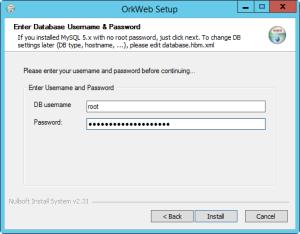 OrkWeb install MySQL